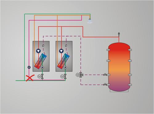 Temperaturmischung von Kaltwasser und Zirkulation